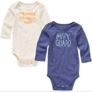 SET OF 2 long-sleeve newborn bodysuits / onesies